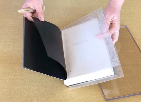 Inserting the plastic sheets